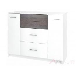 Комод Кортекс-мебель Модерн 120-2д4ш, белый / береза