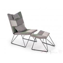 Кресло Halmar Remix с подставкой для ног серое