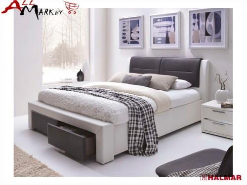 Двуспальная кровать Halmar Cassandra S из экокожи с ящиками