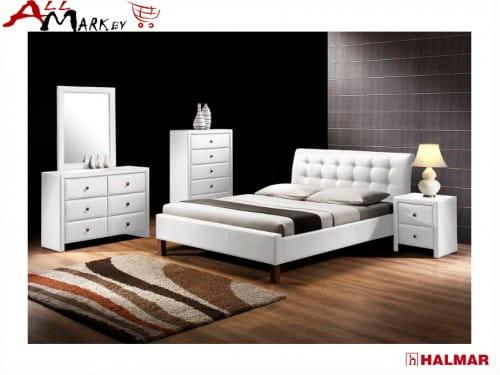 Двуспальная кровать Halmar Samara экокожа