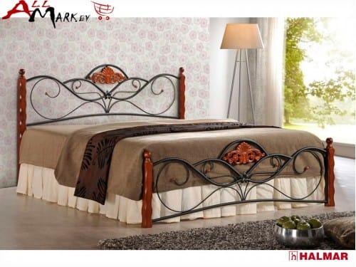 Двуспальная кровать Halmar Valentina из металла и дерева