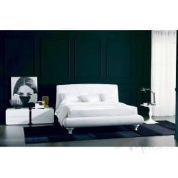 Кровать BONTEMPI ALEXIA (3147PN) 180x200 (TR505 белый кат.В, экокожа, LO79 белые ноги)