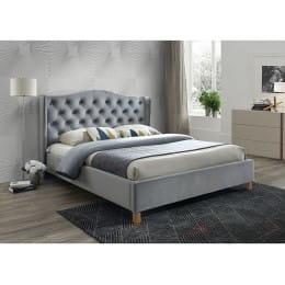 Кровать Signal Aspen velvet bluvel 14 140x200, серый/дуб