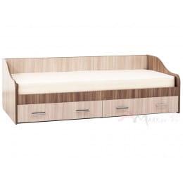 Кровать SV-мебель Город 90x200 с ящиками ясень шимо темный / ясень шимо светлый