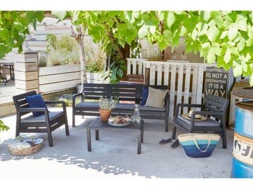 Набор мебели (два кресла,скамья 3х местная,столик) Delano Set, графит (224321)