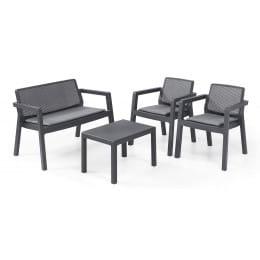 Комплект мебели Keter Emily 2 seater Set, с подушками (графит)