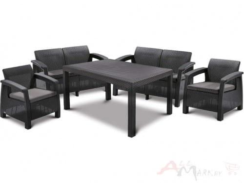 Набор уличной мебели (две двухместные скамьи ,стол, два кресла) CORFU II FIESTA, графит
