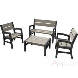 Комплект мебели Keter Montero WLF Bench set (графит / серый)