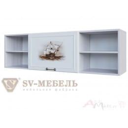 Полка SV-мебель Акварель 1 над столом ясень анкор светлый / белый матовый / Море