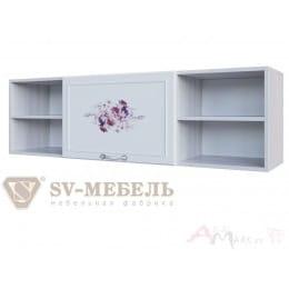 Полка SV-мебель Акварель 1 над столом ясень анкор светлый / белый матовый / Цветы