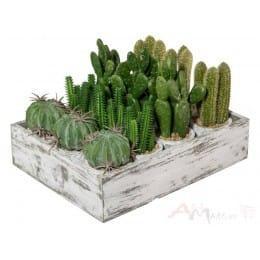 Кактус Gasper 7-12 см искусственный, декоративный, в деревянной коробке
