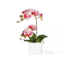 Орхидея Gasper 45 см искусственная в керамическом горшке, розовый