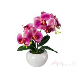 Орхидея Gasper 35 см искусственная в керамическом горшке, фуксия