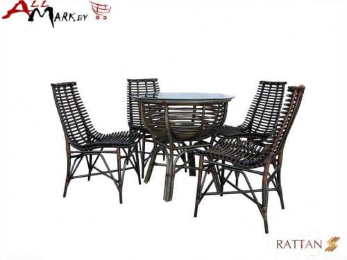 Комплект обеденный со стульями Nicholas из натурального ротанга