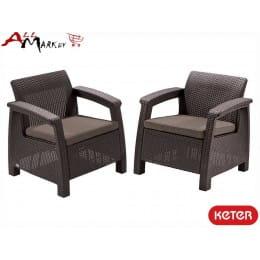 Комплект мебели Keter Corfu duo set коричневый