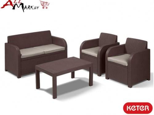 Комплект мебели Carolina set Keter из искусственного ротанга