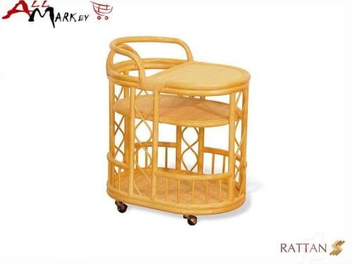 Сервировочный барный столик на колесах 21/06 из натурального ротанга