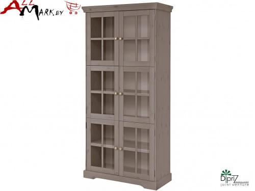 Двухдверный шкаф с витриной Том Диприз Д 7207-6 в гостиную из массива сосны