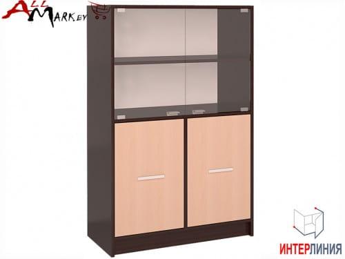 Шкаф полу-пенал СК 027 с витриной Интерлиния венге / дуб молочный