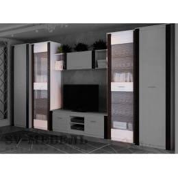 Пенал SV-мебель Гамма 20 со стеклом ясень анкор светлый / венге