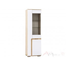 Витрина SV-мебель Нота 25 дуб сонома / белый глянец