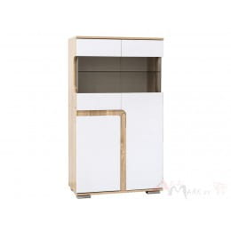 Витрина SV-мебель Нота 25 малая дуб сонома / белый глянец