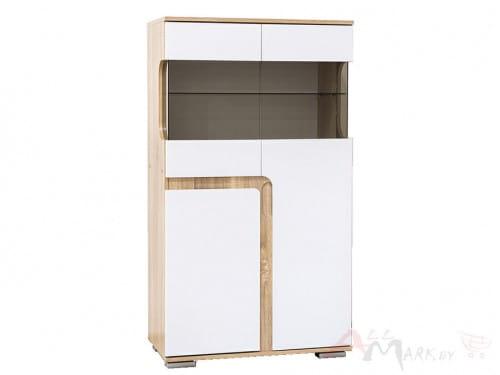 SV-мебель Нота 25 Витрина малая дуб сонома / белый глянец