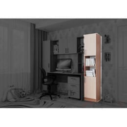 Пенал SV-мебель 7 с двумя створками ясень шимо темный / ясень шимо светлый