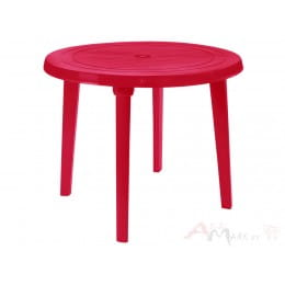Стол Алеана пластиковый круглый d90 вишнёвый
