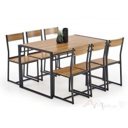 Комплект Halmar Bolivar стол + 6 стульев дуб золотой / черный