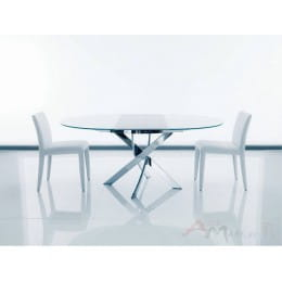 Стол BONTEMPI BARONE (01.92) G093 хром/С150 э-бел. гл. стекло, L021алюм.вставка АКЦИЯ!!!