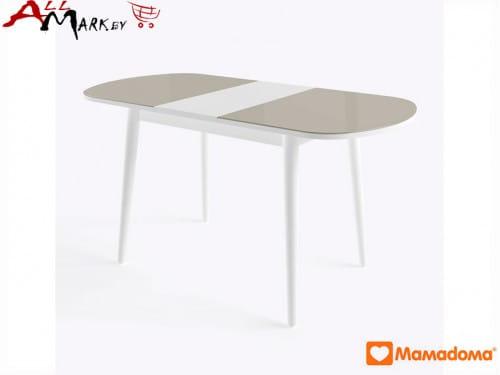 Кухонный стол Бейз МХ полуовальный МамаДома со столешницей из закаленного стекла