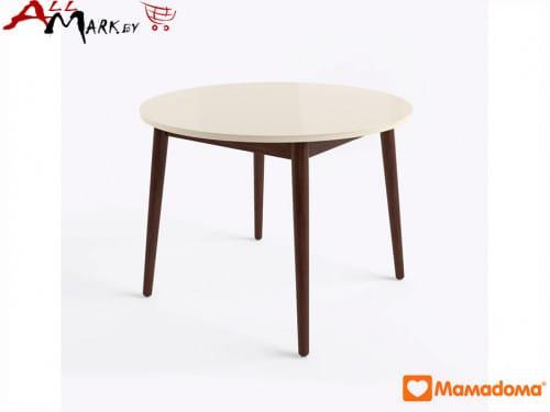 Кухонный стол Бейз МХ круглый МамаДома со столешницей из закаленного стекла
