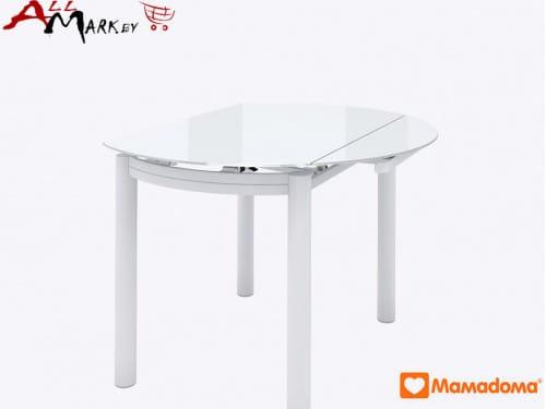 Кухонный стол Римс полуовальный МамаДома со столешницей из закаленного стекла