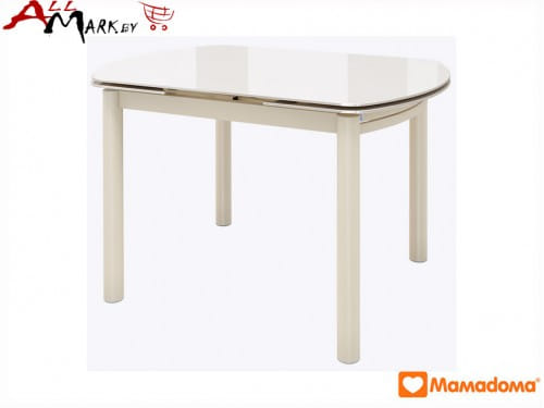 Кухонный стол Римс прямоугольный МамаДома со столешницей из закаленного стекла