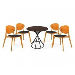 Обеденная группа Sheffilton SHT-DS107, оранжевый/черный/коричневый/черный муар