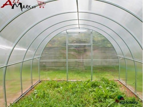 Теплица из поликарбоната Агросфера Плюс труба 20x20 мм, длина 10 м, толщина профила 0,8 мм