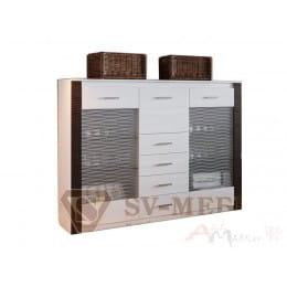 Комод-витрина SV-мебель Гамма 20 ясень анкор светлый / венге