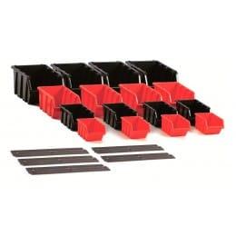 Комплект ящиков Prosperplast Settruck с настенной рейкой, черный